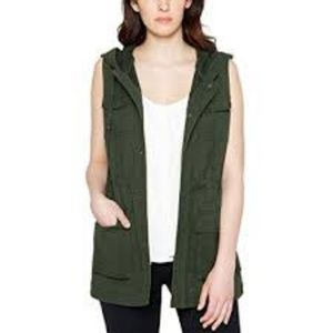 Matty M: Olive Green Hooded Cargo Vest